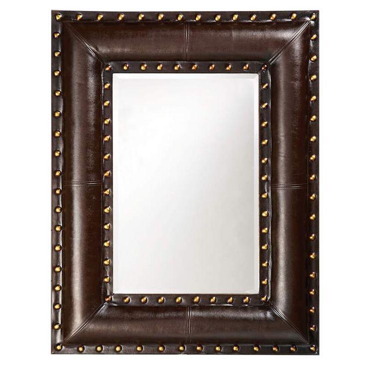 View The Howard Elliott 1339 Palermo 45 X 35 Dark Brown Leather Mirror At Western MirrorBathroom