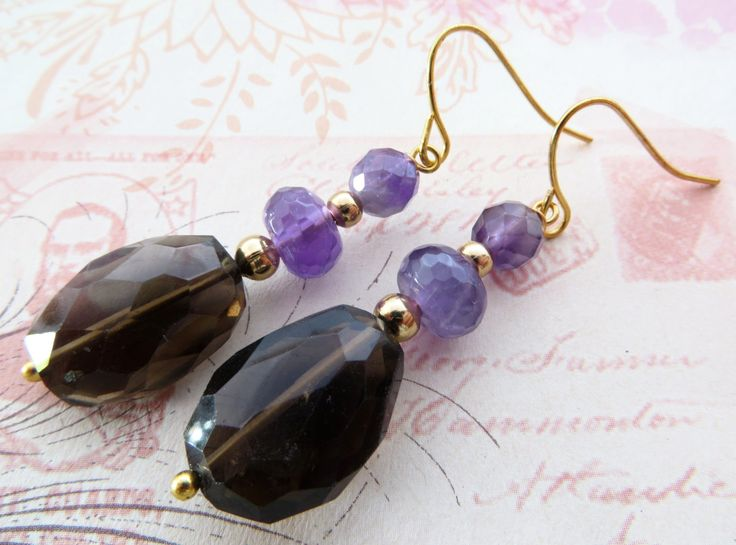 Smoky quartz earrings, dangle earrings, raw stone jewelry, purple amethyst earrings, gemstone jewelry, christmas gift, gioielli, bijoux by Sofiasbijoux on Etsy