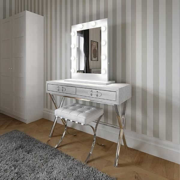 Hollywood Mirror In White Gloss | Makeup Mirror with Lights | Dressing Table Mirror with Lights | Vanity Mirror with Lights | Illuminated Makeup Mirror | Holllywood Mirror UK | Light Up Makeup Mirror | Hollywood Mirrors | Mirror Size 80 X 60cm | The ultimate makeup mirror with 10 led light bulbs & an optional white high glossy stand for when used in the freestanding portrait position on your dressing table. #hollywoodmirror #makeupmirror #vanitymirror #dressingtable