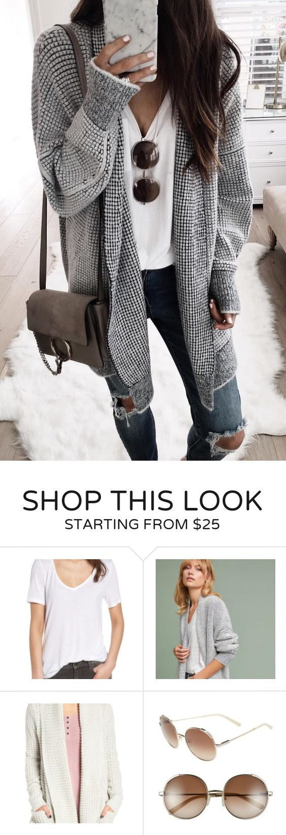 #fall #outfits women's black and gray knitted cardigan. Click To Shop This Look.