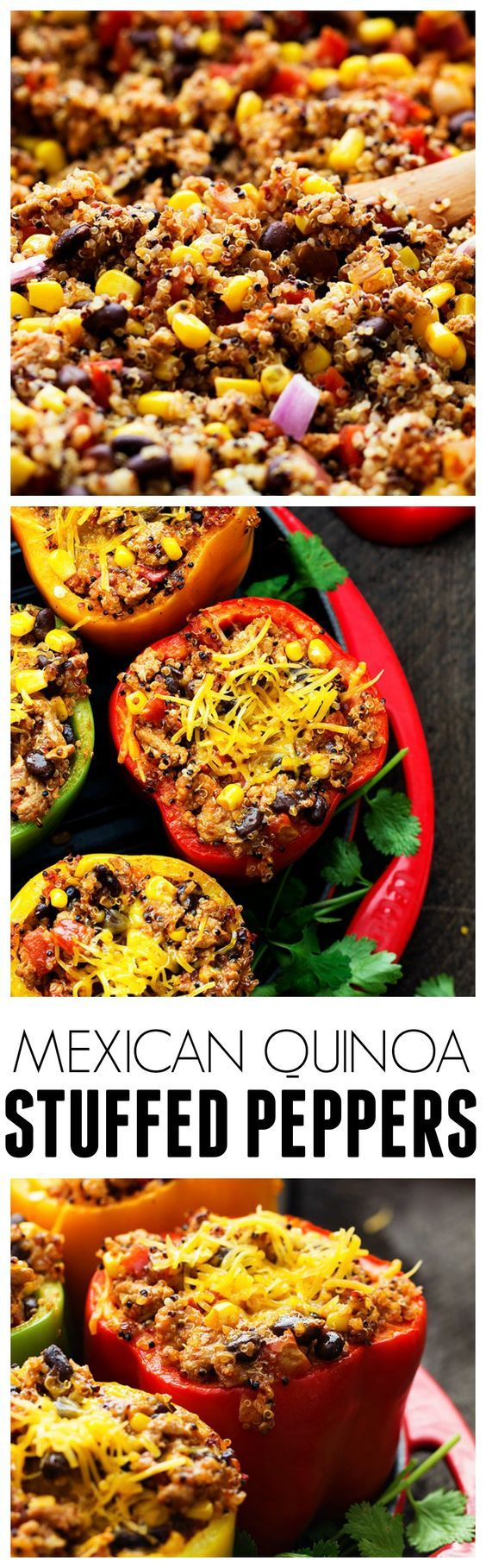 Mexican Quinoa Stuffed Peppers are full of flavor and so healthy for you! The added quinoa is amazing!