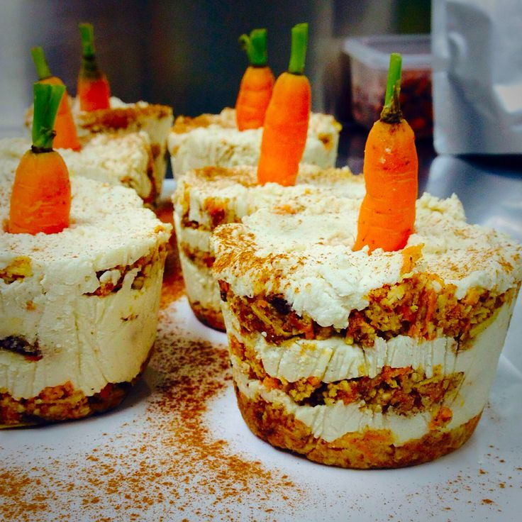Unbaked gluten dairy free carrot cakes