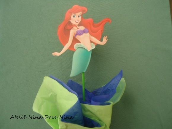 Cachepô centro de mesa - festa Ariel