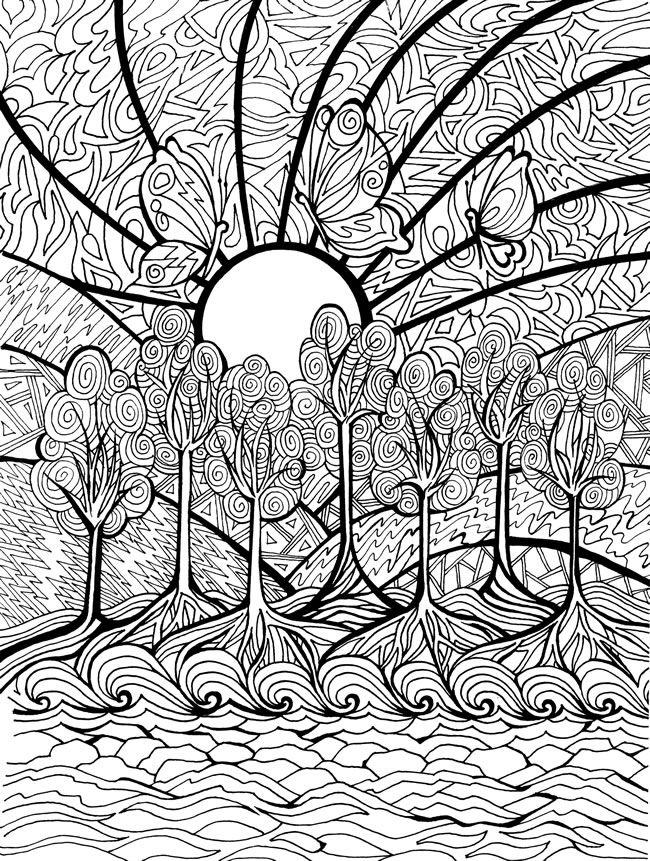 abstract doodle butterfly tree coloring pages colouring adult detailed advanced printable kleuren voor volwassenen welcome to dover publications