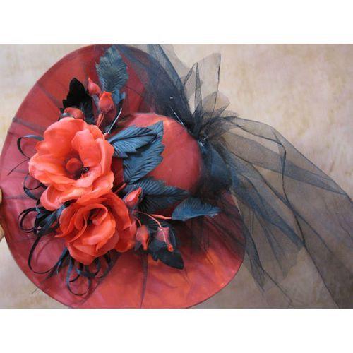 Fancy Dress Hats for Women | Ladies Red Wide Brim Fancy Formal Dress Derby Hats for Church Women