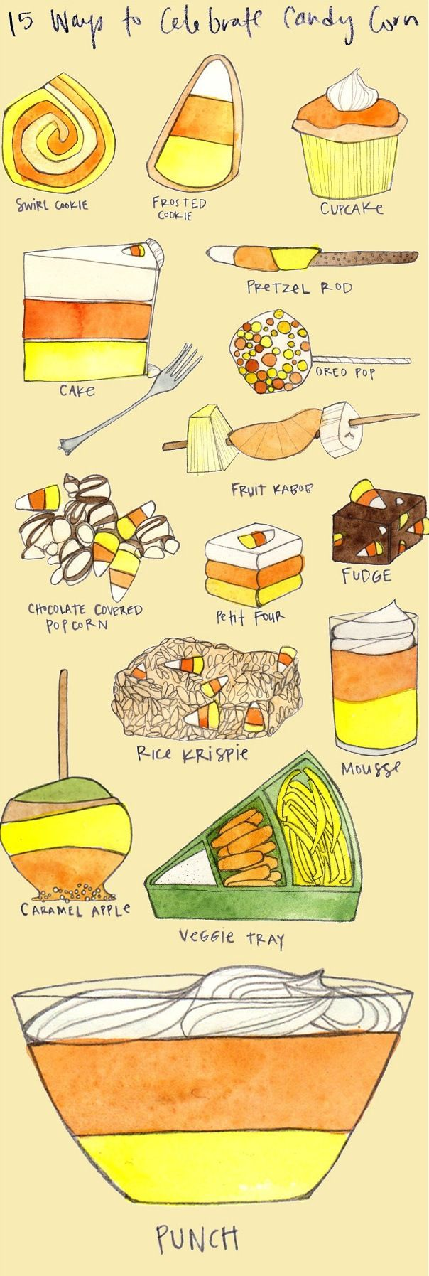 15 Adorable Halloween Recipes to Celebrate Candy Corn! From cupcakes to veggie trays to layered bunch bowls...