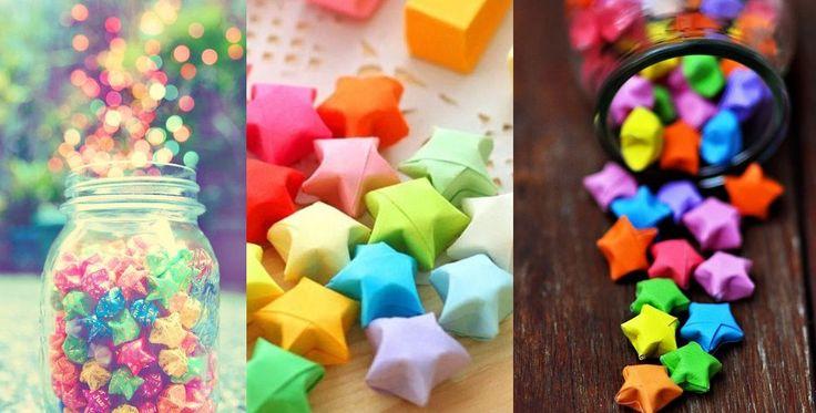In China zie je dit heel veel. Daar maken ze kleine sterren uit linten papier. Ze maken er dan 365(alle dagen van het jaar), doen ze in een pot en geven ze cadeau aan iemand. Deze gelukssterren zijn vrij simpel te maken. Bekijk de videohandleiding: