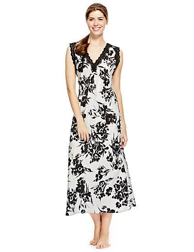 Floral Satin Long Nightdress | M&S