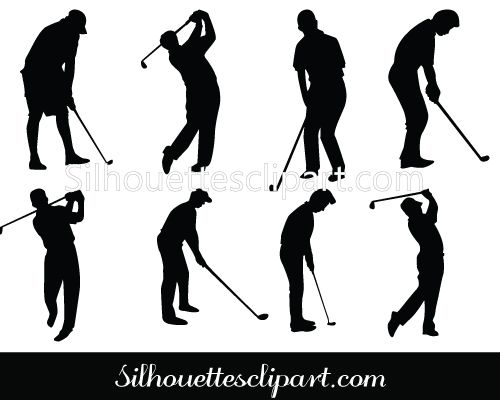 Golf Silhouette of Golfers swinging the golf club in different poses. Black and white vector of gold silhouette can be used on any gold related design material.