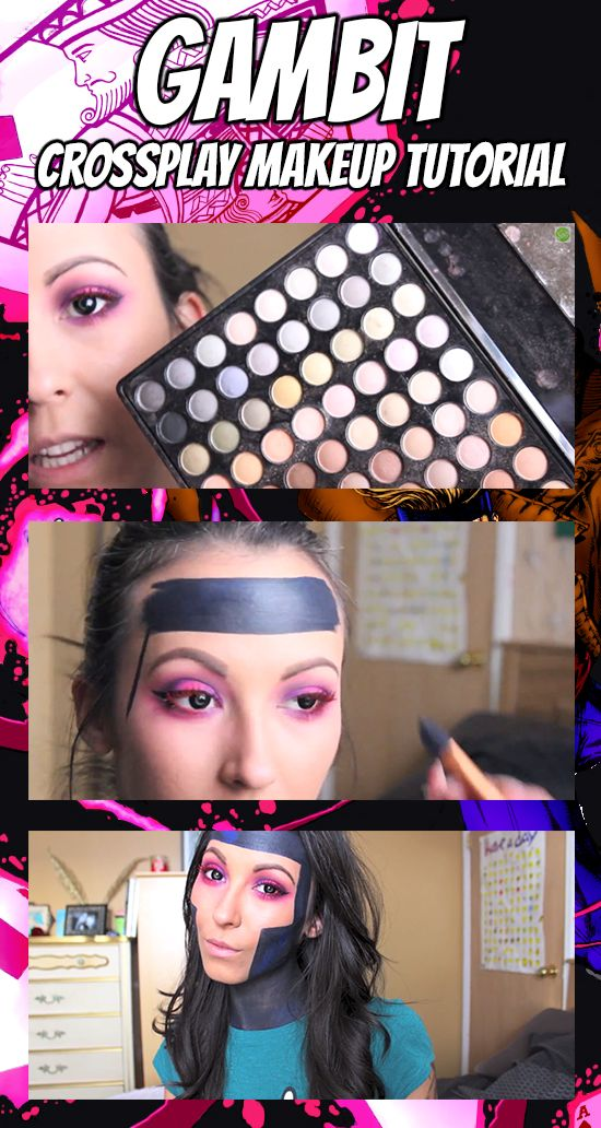 CLICK THE PIC TO WATCH: Show your love for #XMen's #Gambit with this awesome crossplay makeup tutorial! #cosplay, makeup, DIY, xmen, comics