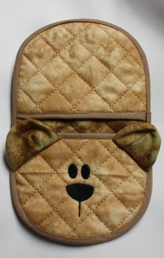In the hoop Bear oven mitt by Christysdigitalfiles on Etsy