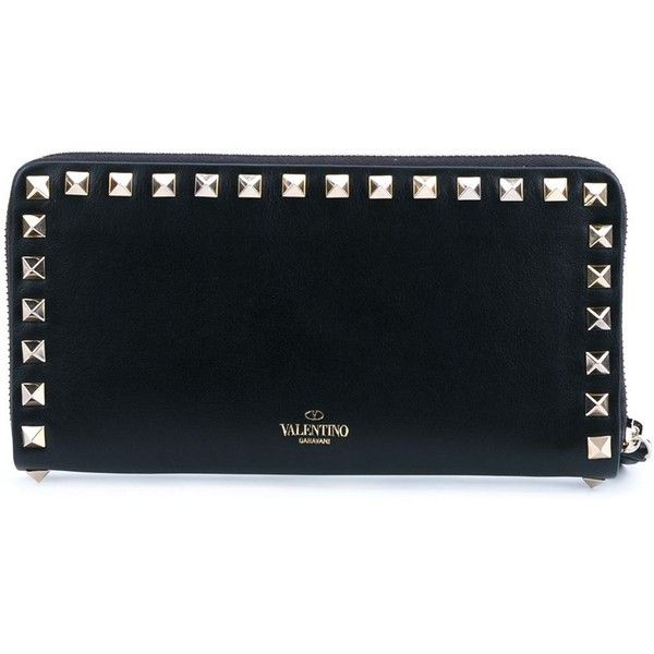Valentino Garavani Rockstud Wallet (12,005 MXN) ❤ liked on Polyvore featuring bags, wallets, black, black wallet, valentino bags, zip top bag, black bag and decorating bags
