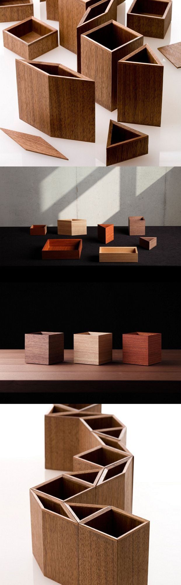 Beautifully crafted by artisans from Tokushima, these wooden stationary boxes magnetically connect. Designed in shapes of 30-degree increments – an equilateral triangle, a square and rhombus – the boxes freely come together to create geometric forms that act as pen stands, trays, or anything you need them to be.