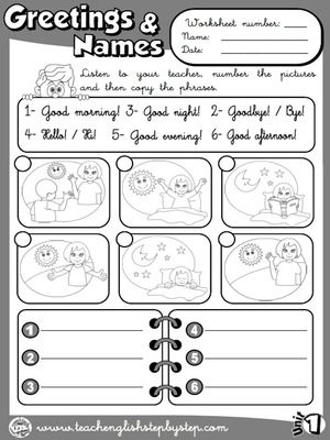 Greetings and Names - Worksheet 4 (B&W version)