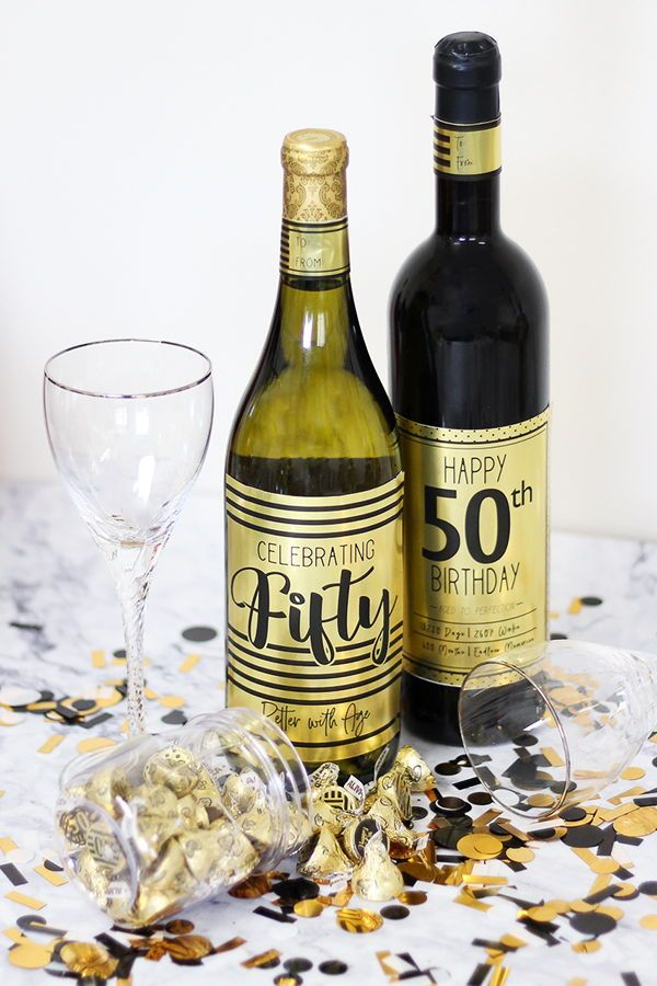 Black And Gold 50th Birthday Metallic Foil Wine Bottle Labels Use These