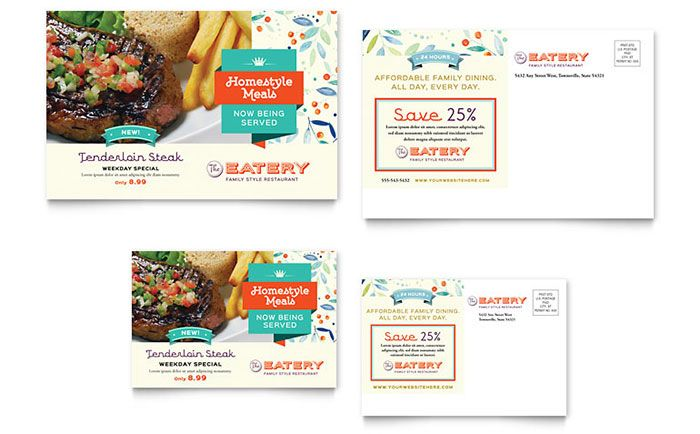 Family Restaurant Postcard Template Design by StockLayouts