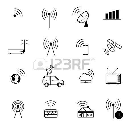 Ensemble de diff rents vecteur wifi sans fil et des ic nes pour l acc s distance et de la communicat Banque d'images