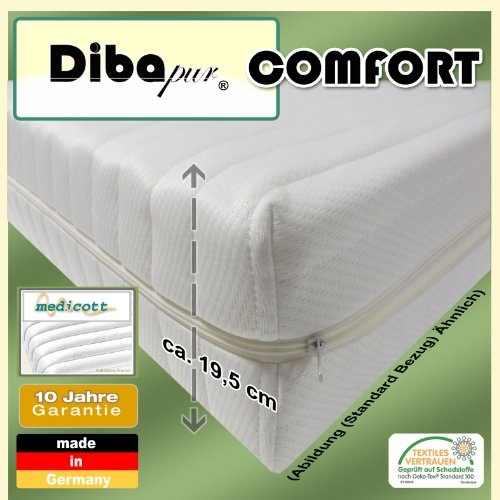 Dibapur® : Comfort - 9 Zonen Orthopädische Kaltschaummatratze Härtegrad: H2 (bis max. 85kg) mittel fest - (140x190) x 18cm Kern mit - medicott - Bezug ca. 19,5 cm