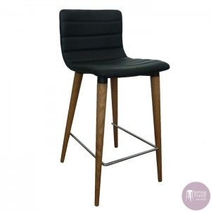 Sitting Pretty Furniture   Soho Stool   Black PU Seat/Walnut Leg