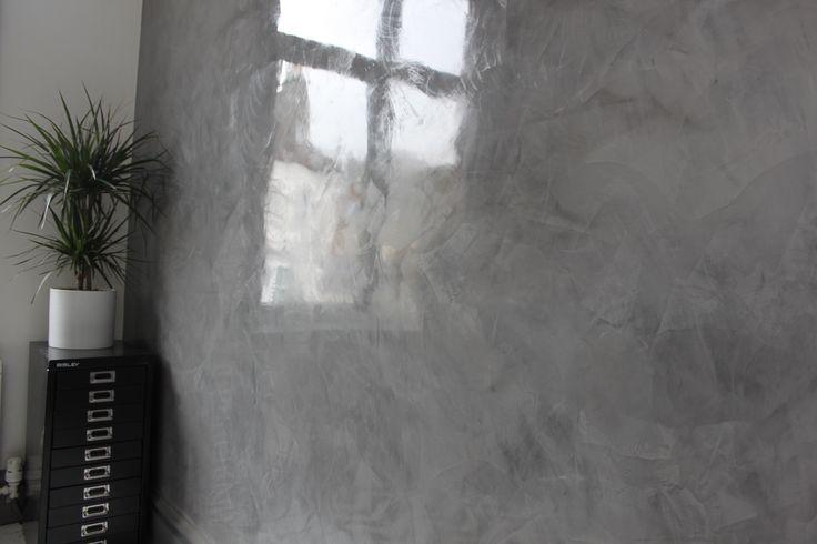 Dark grey contemporary office polished plaster design!