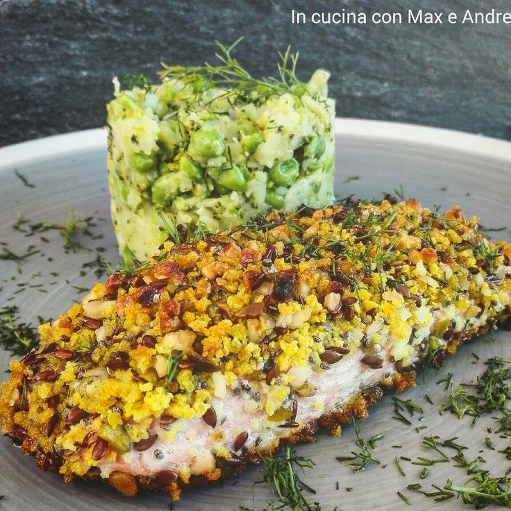 Salmone in crosta croccante con puré di piselli - Scopri la ricetta di un secondo piatto sfizioso e pronto in pochissimo tempo... Un'idea per stupire...