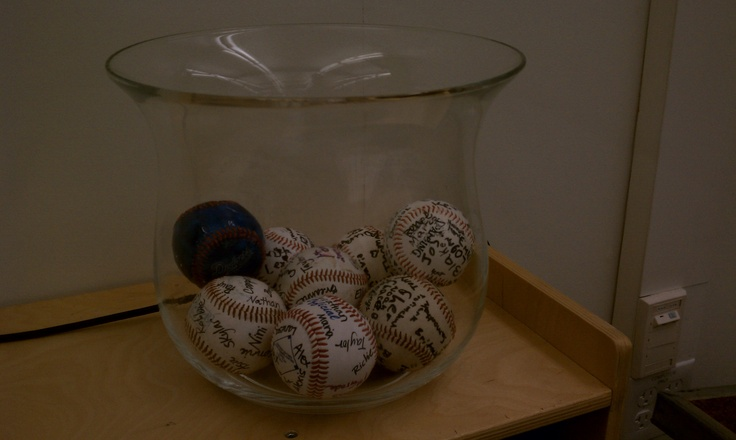 Behavior Management Idea: Have table teams autograph their own baseballs. Use as a behavior management system. Everyone's baseball stays in the bin unless their table is misbehaving (could use a point system to determine when baseball is removed) At the end of week, if all basebals remain--Pizza party---if only one or two remain offer a different incentive, etc..: Baseball Mom, Baseball Softball, Bowl, Baseball Stuff, Baseball 3, Baseball For, Baseball Stays