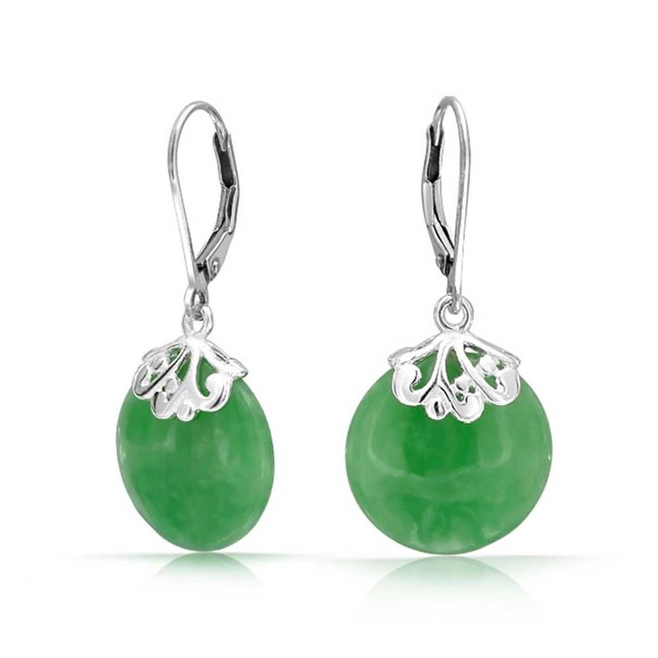 Christmas Gifts Gemstone Green Jade Disc Earrings Leverback 925 Sterling Silver: