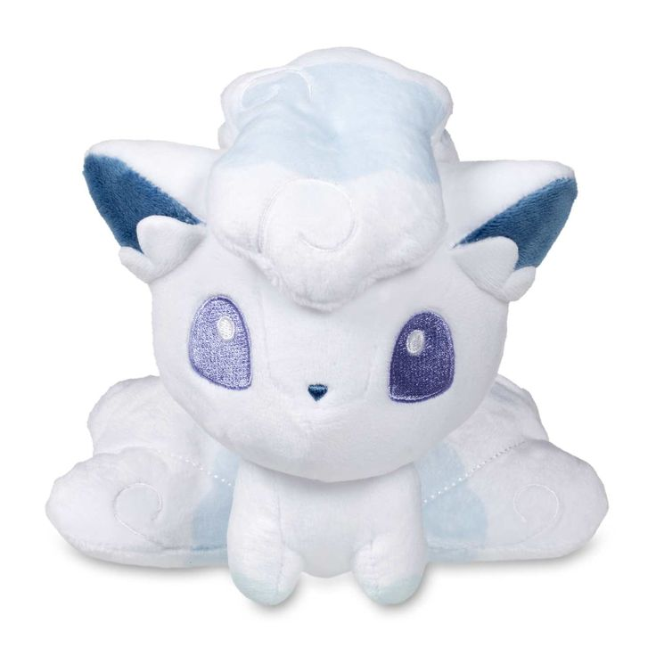 Official Alolan Vulpix Pokémon Dolls plush stands 6 inches tall, with big embroidered eyes and small mouth. Pokémon Center Original design.