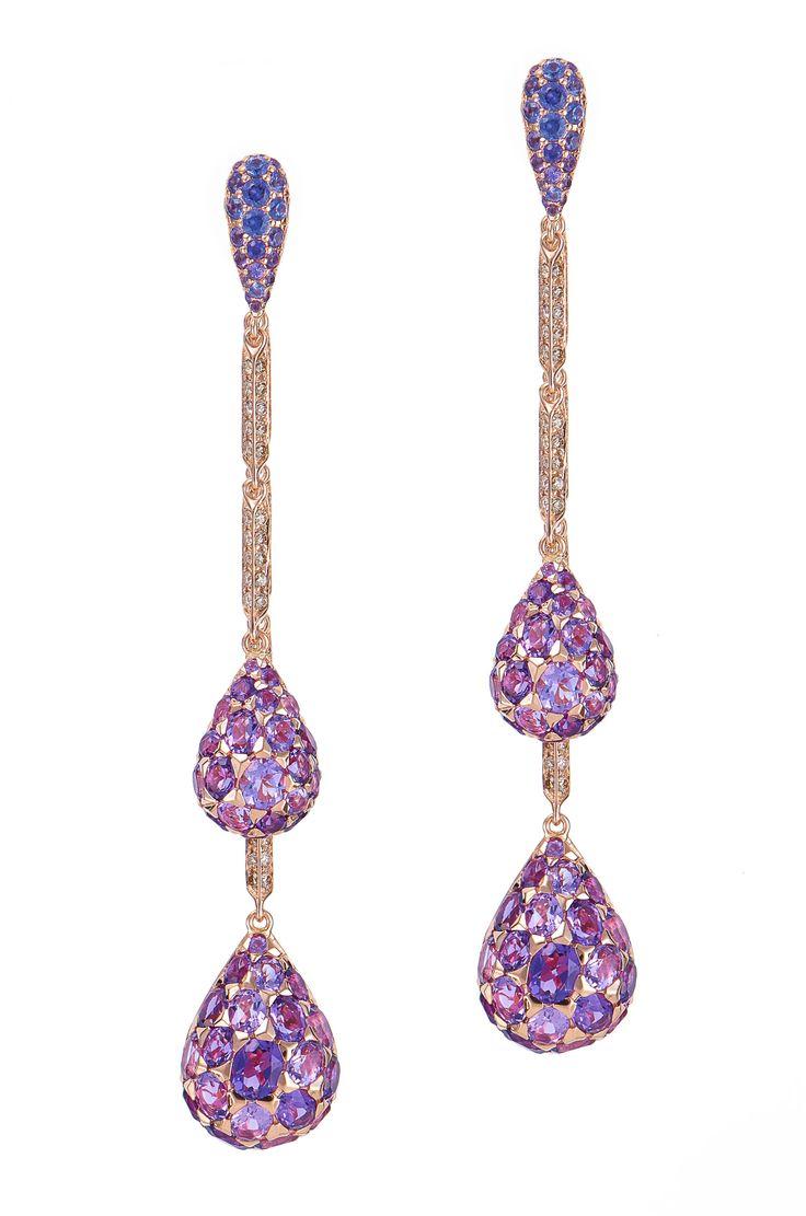 18K Rose Gold Amethyst & Diamond Strand Earrings.
