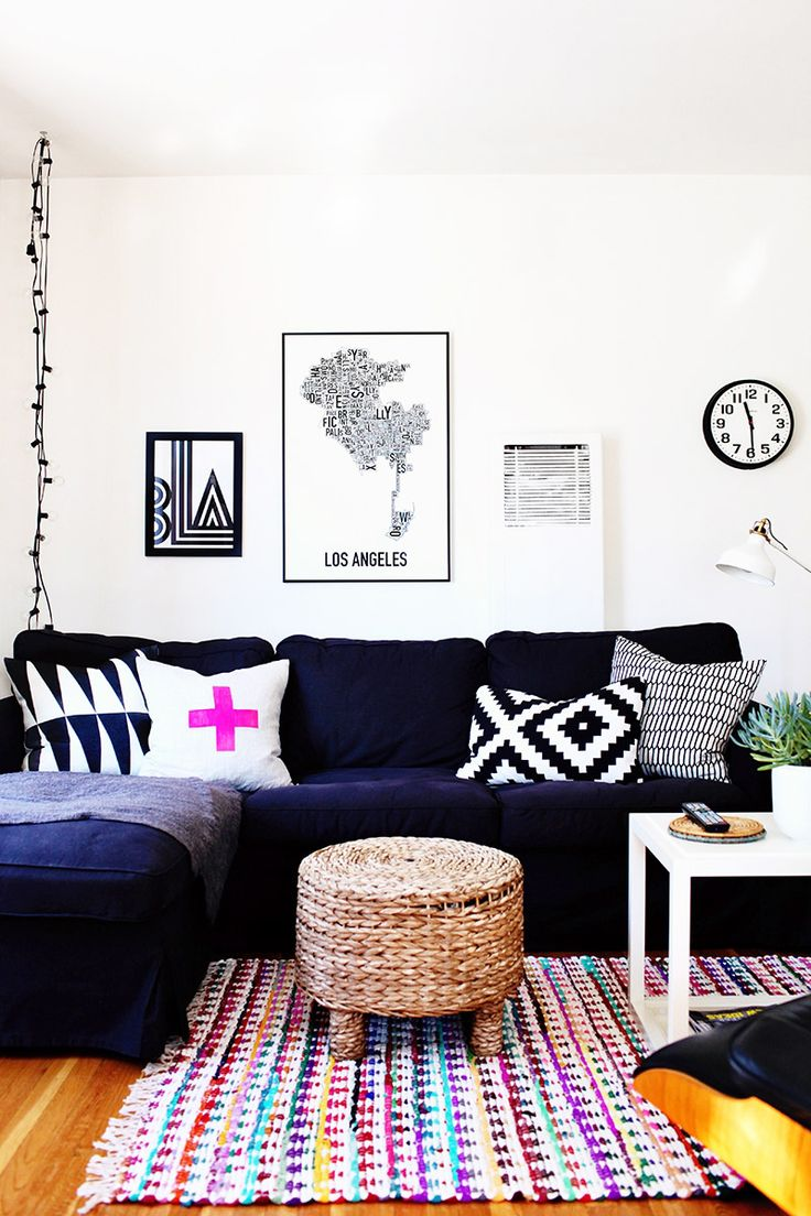 Best  Navy Couch Ideas On Pinterest - Black and white chairs living room