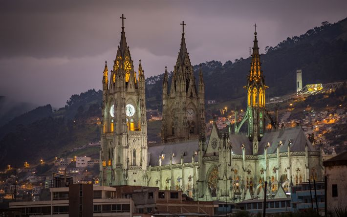 Lataa kuva Basilika Quito, Rooman Katolinen kirkko, illalla, kappeli, Quito, Ecuador
