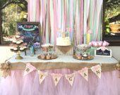 Sweets table, custom made tutu table skirt, tulle table skirt, wedding cake table