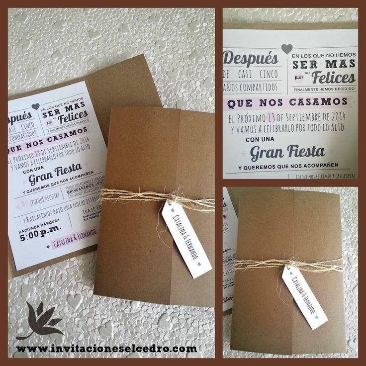 #invitaciones papel Craft #Vintage Matrimonio Catalina & Fernando un placer atenderlos!! www.invitacioneselcedro.com