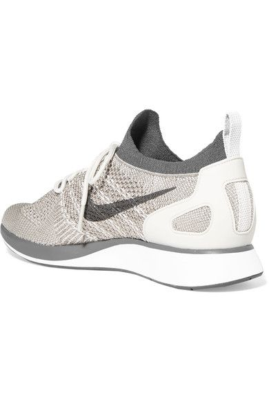 Nike - Air Zoom Mariah Leather-trimmed Metallic Flyknit Sneakers - Light  gray