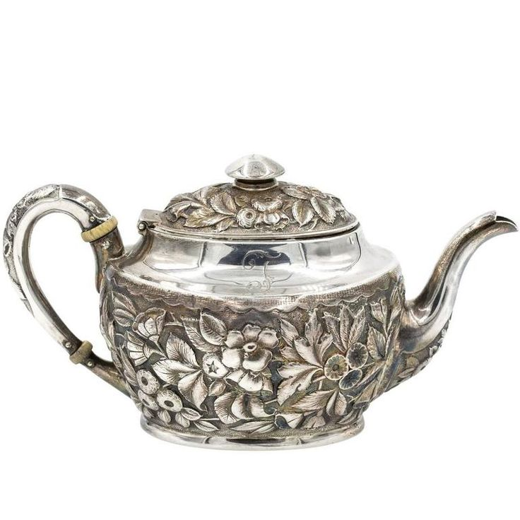 Peter Krider Sterling Silver Tea Pot | From a unique collection of antique and modern tea sets at https://www.1stdibs.com/furniture/dining-entertaining/tea-sets/