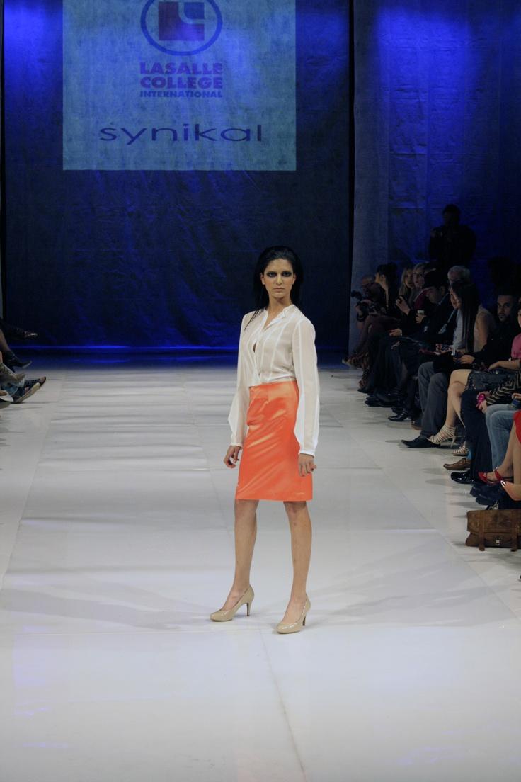 Pieced chiffon blouse w/ sleeve inserts & satin skirt