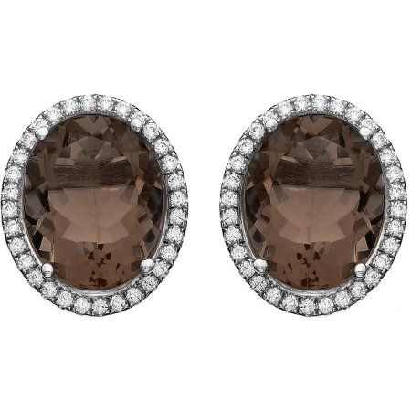 5th & Main Platinum-Plated Sterling Silver Oval Single-Cut Smokey Topaz Pave CZ Earrings, Women's