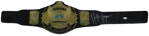 Hulk Hogan Signed Classic WWE Winged Eagle Championship Toy Belt JSA