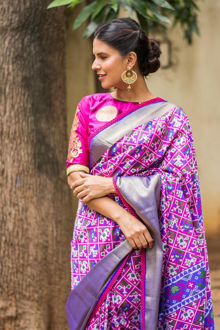 Purple and royal blue Patola inspired semi silk saree with a rich tissue border #saree #blouse #houseofblouse #indian #bollywood #style #purple #pink #blue #gold #tissue #border #patola #inspired #ikat #multicolour