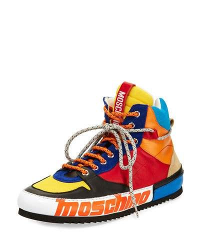 MOSCHINO MULTICOLOR LEATHER LACE-UP HIKER SNEAKER. #moschino #shoes #flats