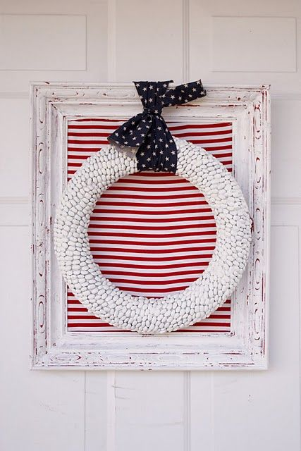 fourth of july wreath: Holiday, July4Th, Craft, Bean Wreath, July Wreath, 4Th Of July, July 4Th, Red White, Wreaths