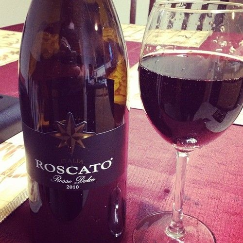Roscato Rosso Dolce...by far the best red wine! I turned everyone on to this wine...so much so that we went through 5 bottles in under 3 hours last Christmas.......wino hangover...bad news!!!