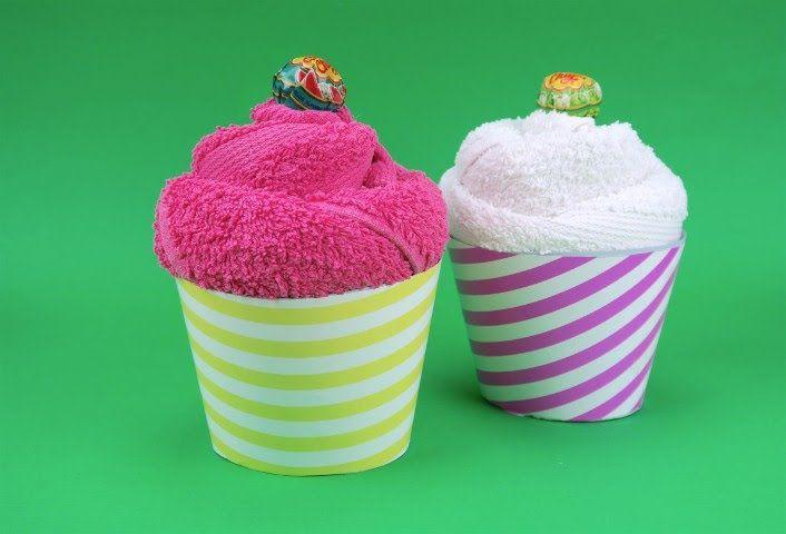 Come creare un cupcake con un asciugamano
