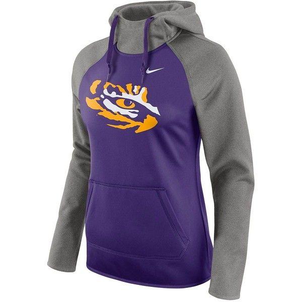 Women's Nike LSU Tigers All Time Therma-FIT Pullover Hoodie ($70) ❤ liked on Polyvore featuring tops, hoodies, dark grey, insulated hooded sweatshirt, hooded sweatshirt, long sleeve tops, fleece lined hooded sweatshirt and nike hoodie