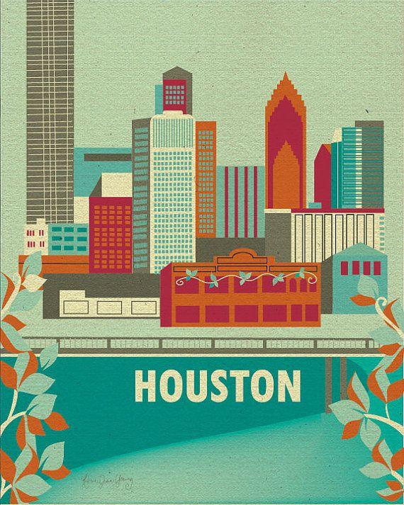 Houston, Texas Skyline Poster - City Wall Art Print for Home and Office - style E8-O-HOU2. $19.99, via Etsy.