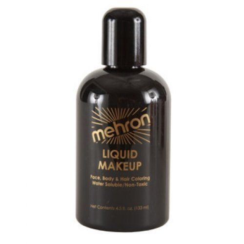 Mehron Liquid Face Paints - Black B (4.5 oz) by Mehron. $10.59. Mehron Liquid Face paint is water based and can be applied with a brush, sponge or an airbrush.. Perfect for full body painting or for getting things moving quickly with crowds at events and carnivals.. The big bottle of 4.5 ounces of liquid paint is perfect for refilling small bottles or for very large jobs. It does not come with a brush. Mehron face paints are made with FDA approve ingredients and are saf...