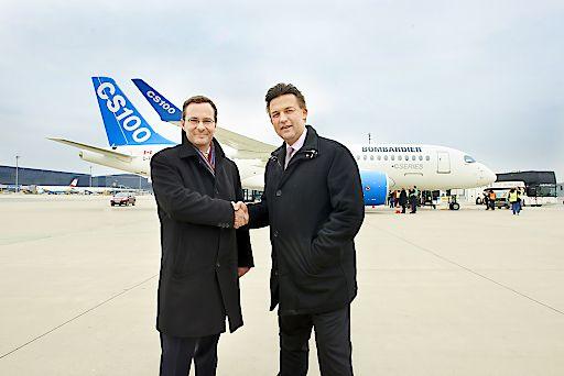 Erstlandung des BOMBARDIER CS100 am Flughafen Wien