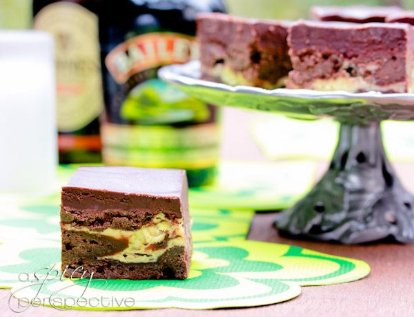 """There's a silly old saying, """"The Irish ignore anything they can't drink or punch."""" Well Irish Car Bomb Brownies pack the punch of a favorite Irish-inspired"""