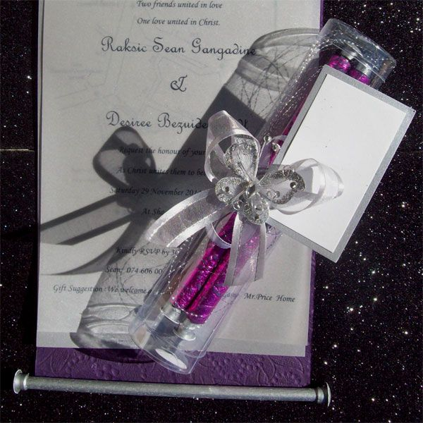 Ref Fancy scroll IN TUBE Mauve ( we can do any colour) www.weddingcards.co.za