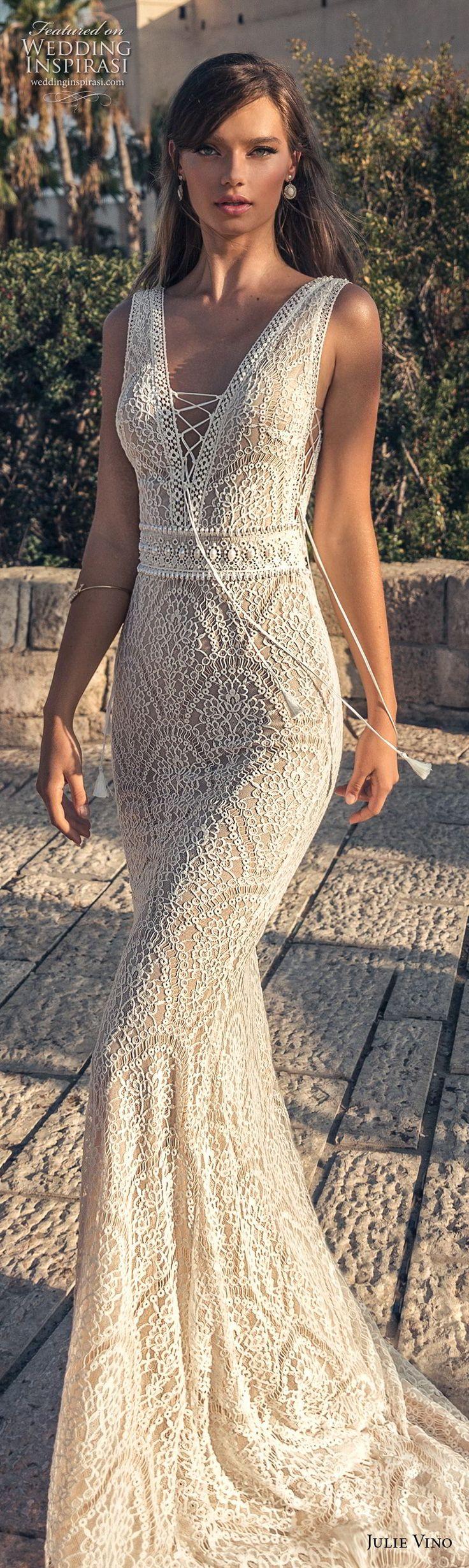 julie vino 2018 bridal sleeveless deep v neck full embellishment elegant sexy fit and flare sheath wedding dress open v back sweep back (62) lv